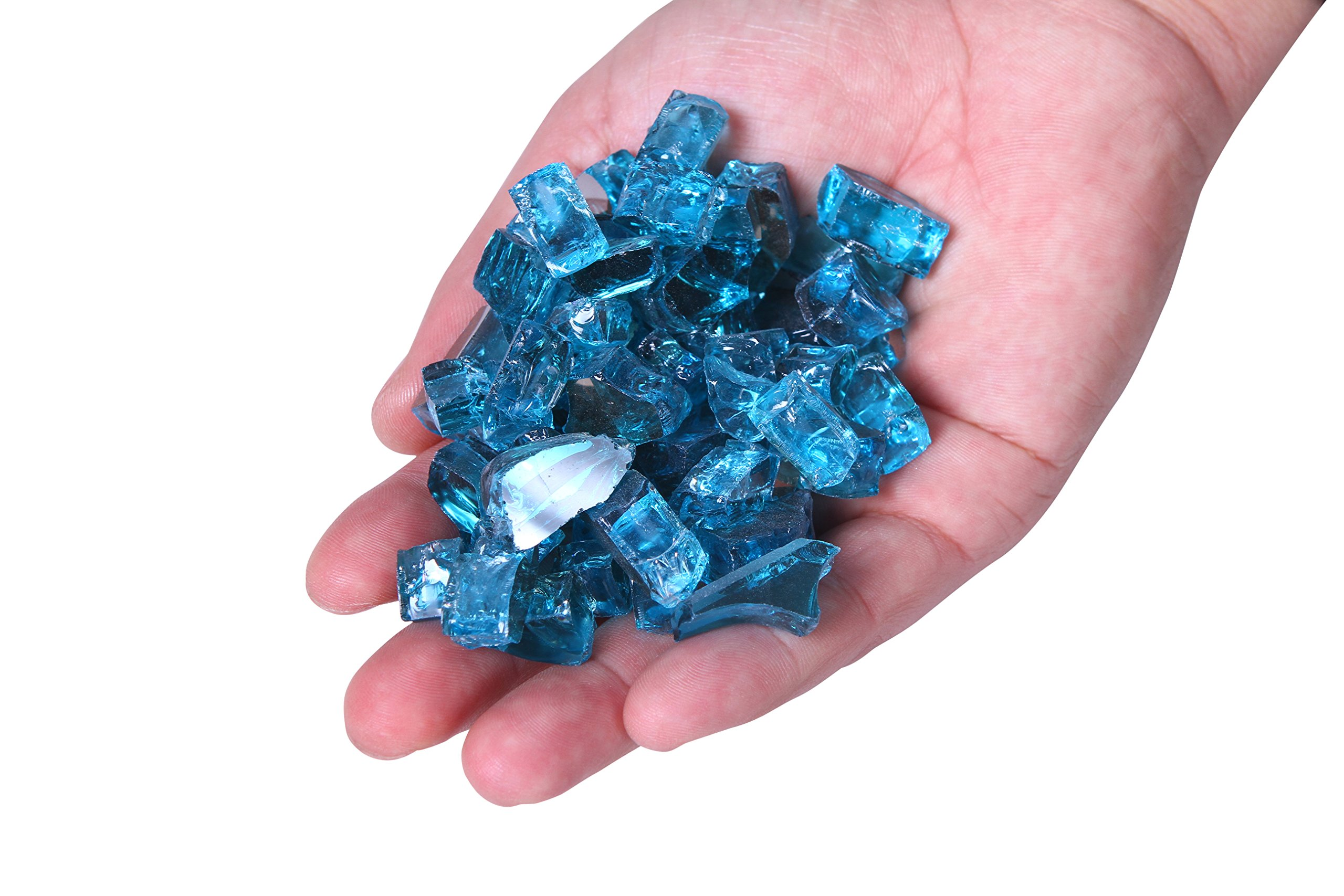 Century Modern Outdoor Fire Glass For Fire Pit,Reflective Tempered Fire Pit Glass For Fireplace,Fire Pit Table & Landscaping | Fire Glass Pebbles/Beads By 10 Pound (1/4''), Aque Blue Reflective