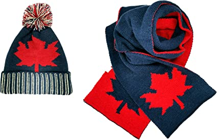 luyi Canadian Maple Leaf Culture Winter Scarf Double Jacquard Knit Warm for Girls and Boys Navy