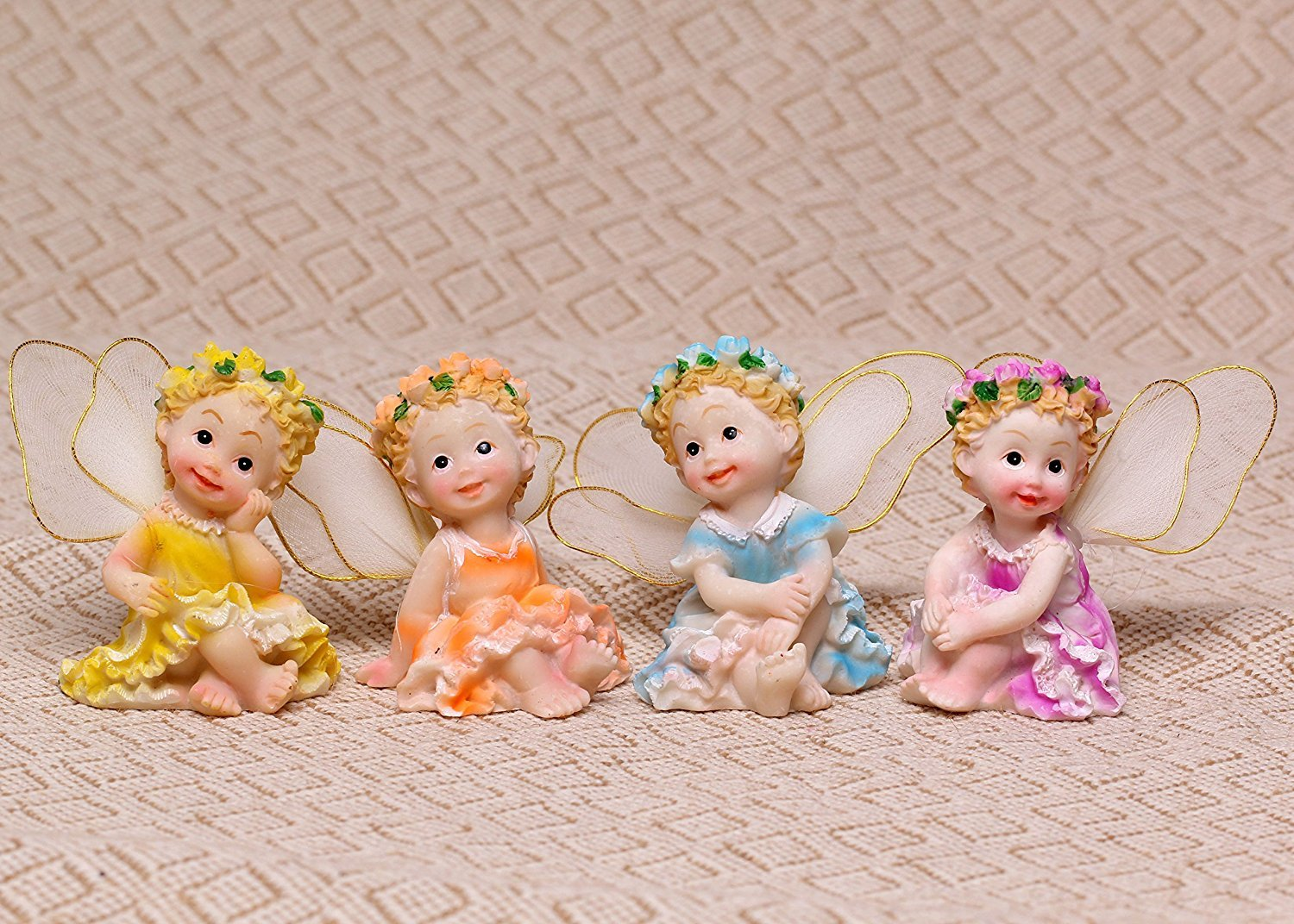 Tonsiki Resin Fairy Garden Ornament Home & Outdoor Decor Cute and Lovely Sitting Flower Fairies 4pcs Set by Tonsiki