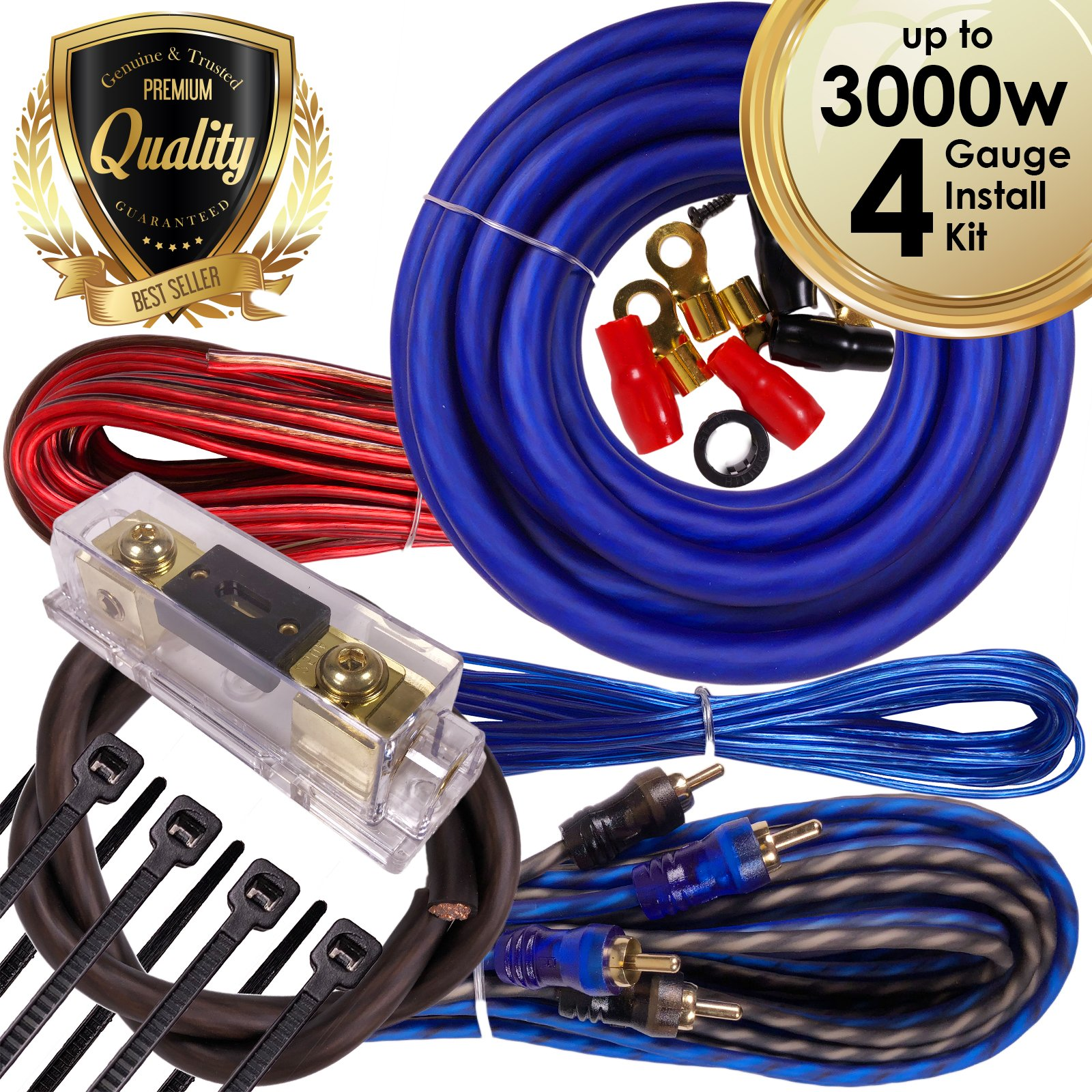 Complete 3000W Gravity 4 Gauge Amplifier Installation Wiring Kit Amp PK1 4 Ga Blue - For Installer and DIY Hobbyist - Perfect for Car / Truck / Motorcycle / RV / ATV