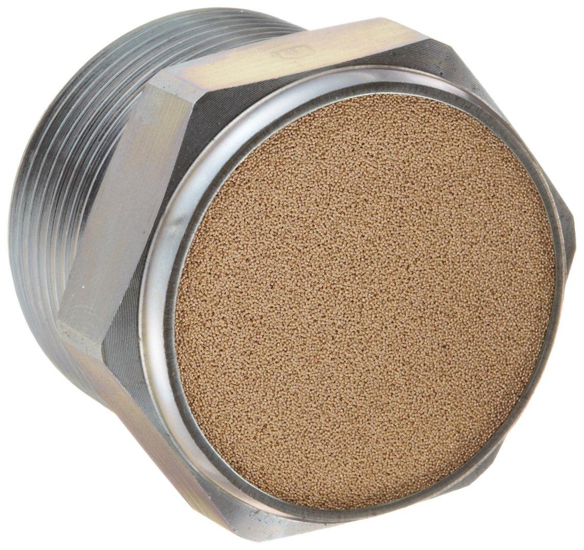 0.44 Length 150 psi 1//8 NPT Male Parker 047020002 Sintered Bronze Breather Vent