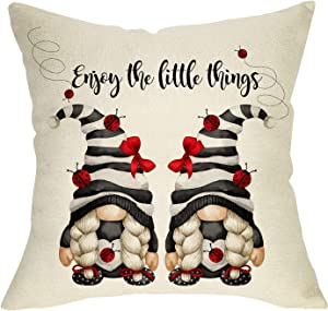 Fbcoo Summer Ladybug Gnome Decorative Throw Pillow Cover, Enjoy The Little Things Quote Spring Cushion Case Decor, Black Watercolor Stripe Farmhouse Home Pillowcase Decorations for Sofa Couch 18x18