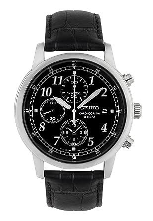 Amazon.com  Seiko Men s SNDC33 Classic Black Leather Black ... 77315f8a5ed8