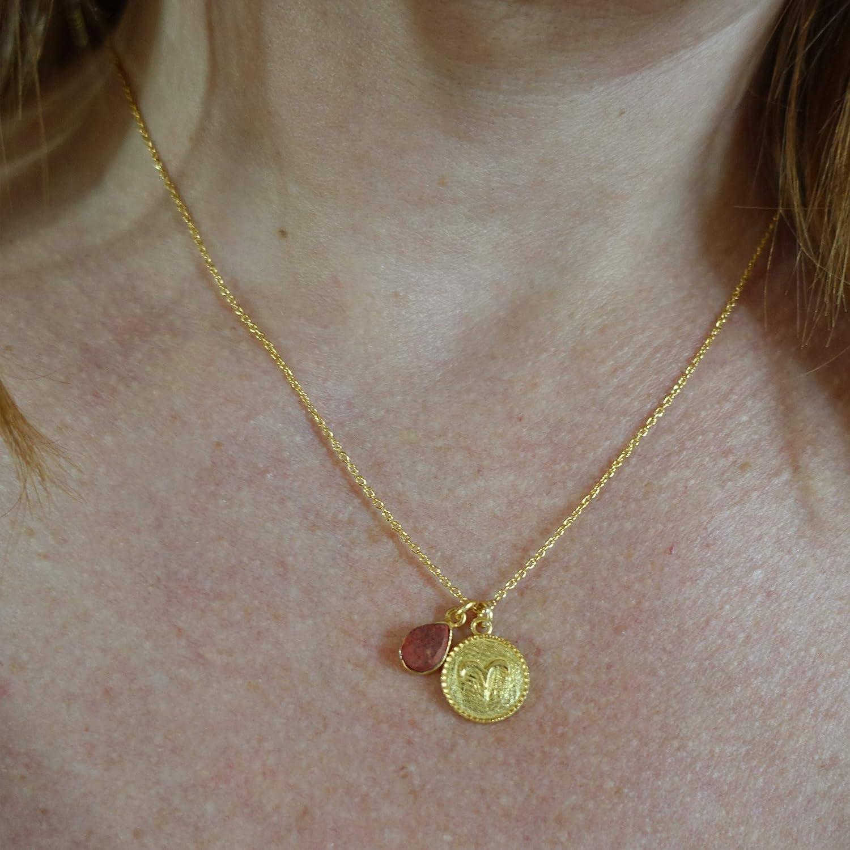 Halskette mit einer Medaille des Sternzeichens Widder und Anh/änger mit einem rohen Amethyst.