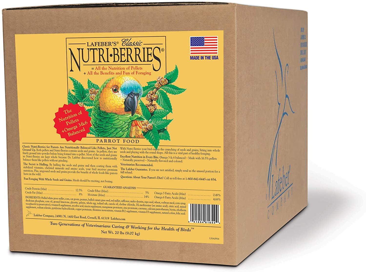 LAFEBER'S Classic Nutri-Berries Pet Bird Food, Made with Non-GMO and Human-Grade Ingredients, for Parrots, 20 lbs