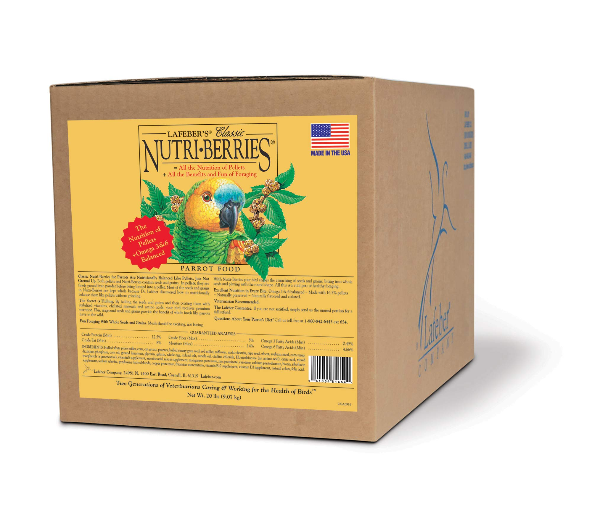 LAFEBER'S Classic Nutri-Berries Pet Bird Food, Made with Non-GMO and Human-Grade Ingredients, for Parrots, 20 lbs by LAFEBER'S