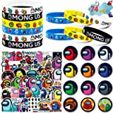 Among Us Merch, 74 Pack Birthday Party Supplies Favors Gifts Set Include 12 Bracelets, 12 Button Pins, 50 Stickers for Video