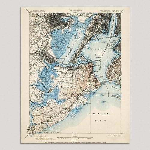 Amazon Com Old Staten Island And Newark Map Art Print New York