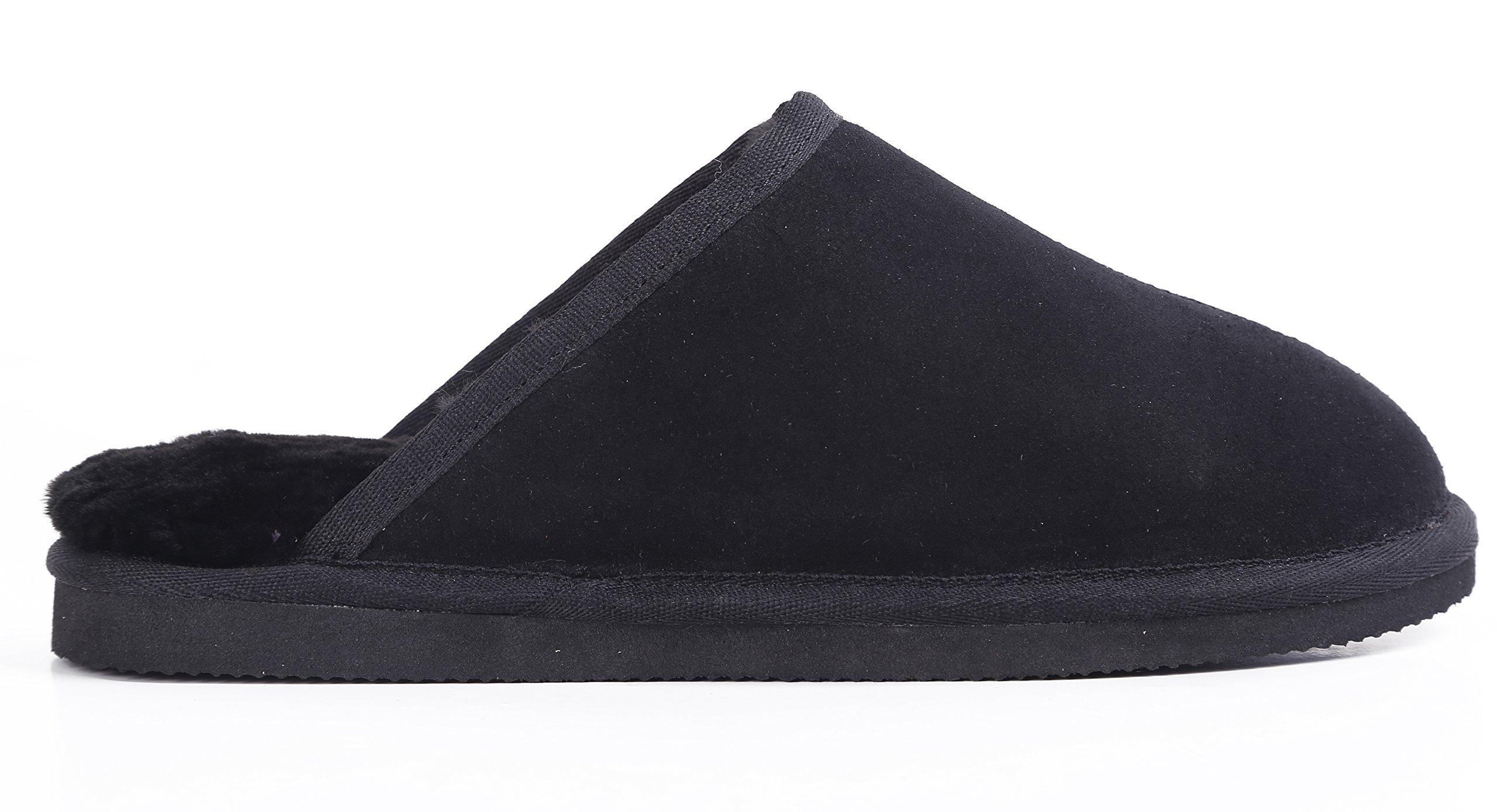 Lamb Men's Australian Sheepskin Slippers (11, Black)