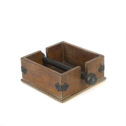 Creative Co-op DA2228 Wood Cocktail Napkin Caddy Holder