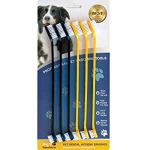 Pet Republique Cat & Dog Toothbrush Set of 3/6 - Dual Headed Dental Hygiene Brushes for Small to Large Dogs, Cats, Most Pets (Dual-Headed Set of 6)