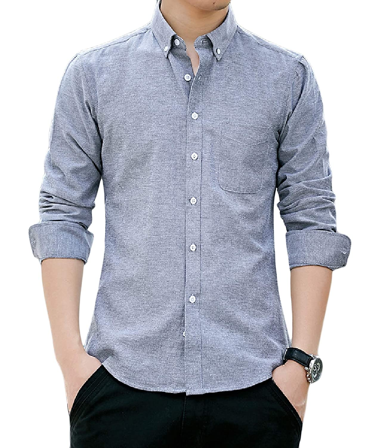 Zimaes-Men Relaxed-Fit Long Sleeves Casual Slim Fit Solid T-Shirt