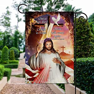 VinMea Garden Flag - 12 X 18 Inches Christ Has Died Christ is Risen Christ Will Come Again Polyester Yard Flag Outdoor Decor for Homes and Gardens