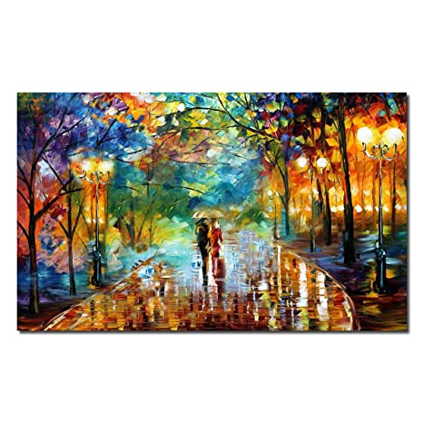 Seven Heart Art Modern Abstract Painting Hand Painted Oil Painting Landscape Wall Artwork Couple Wolking In The Rain Landscape On Canvas Modern Living