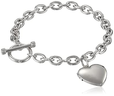 Amazon Com Sterling Silver Toggle Bracelet With Heart Locket 8