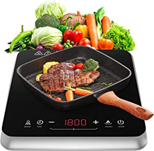COOKTRON Induction Cooktop Countertop Burner Portable with Fast Warm-Up Mode, 10 Temperature 9 Power Settings Induction Cooker Cooktop 1800w with Child Safety Lock & Timer