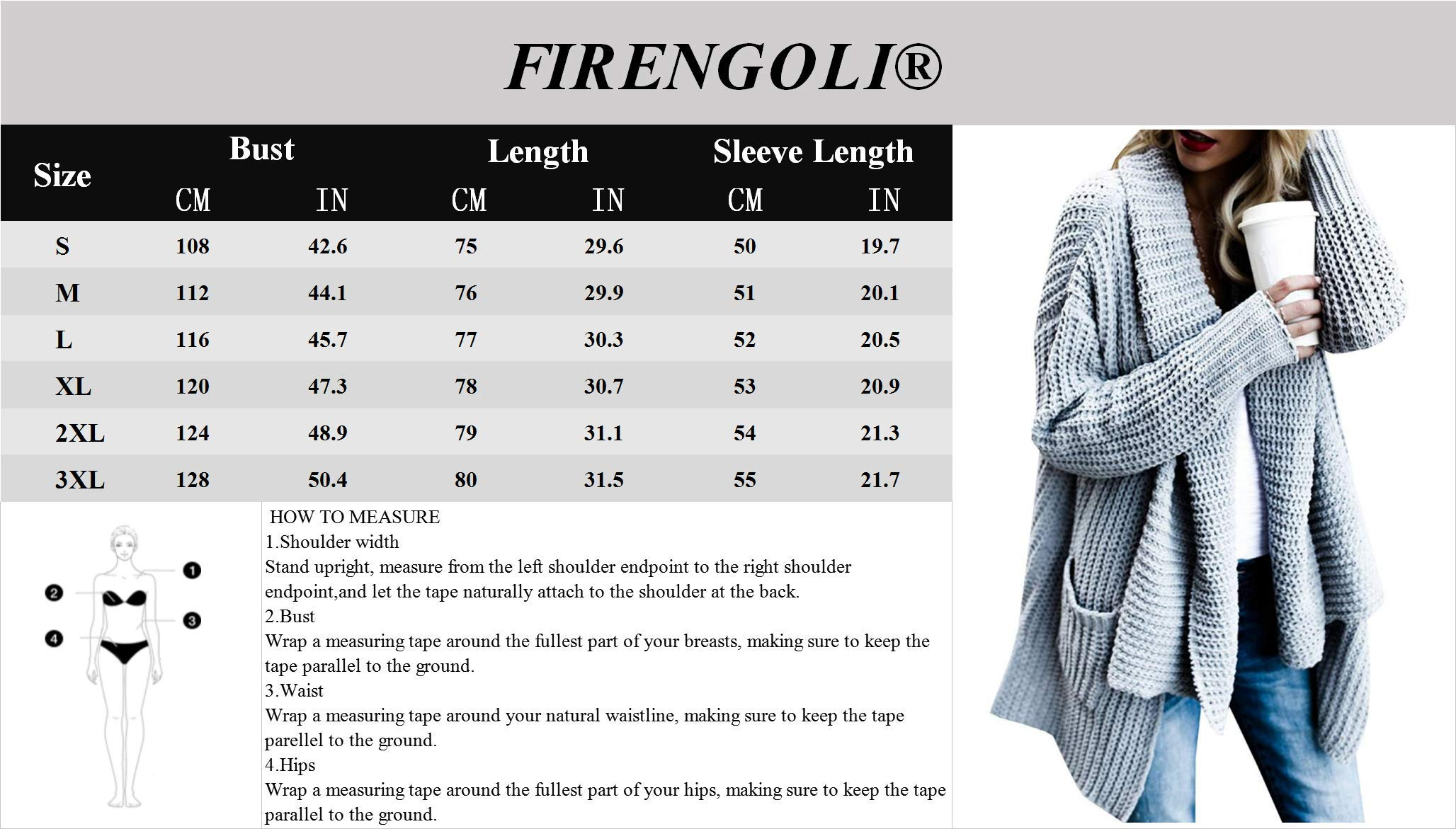 FIRENGOLI Womens Open Front Chunky Sweater Cardigan Long Sleeve Knit Coat with Pocket Grey XL by FIRENGOLI (Image #5)