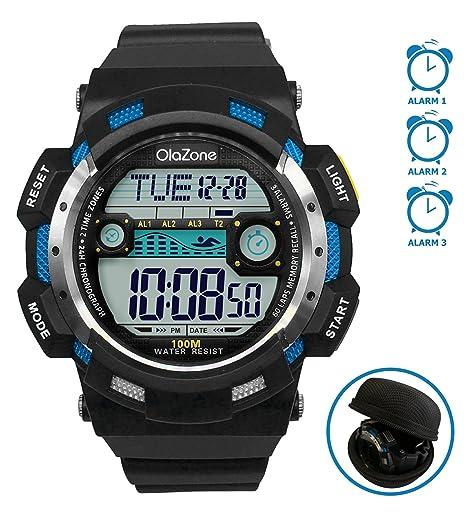 Amazon Digital Sports Watch Water Resistant 100m 3 Alarm 60 Lap