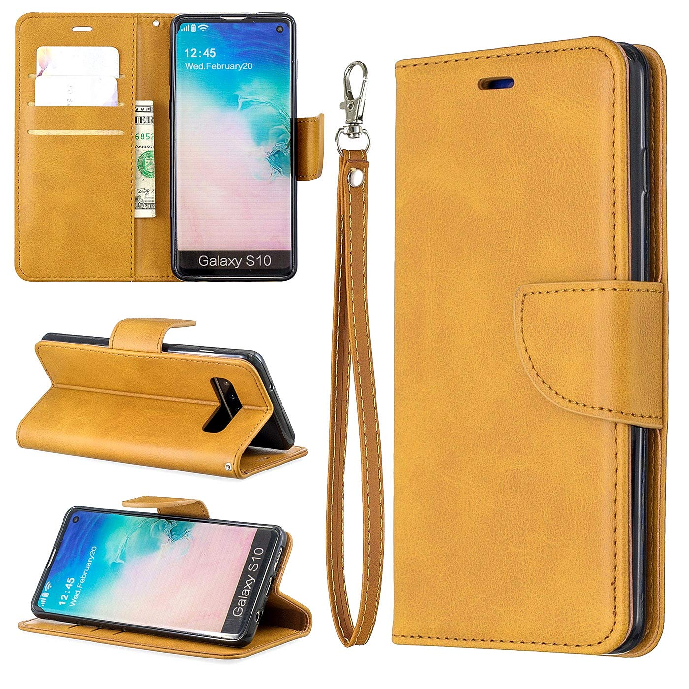 Schutzh/ülle Handyh/ülle PU Leder Handytasche Flip Case Kunstleder Magnet Klapph/ülle Standfunktion Etui Lederh/ülle Brieftasche f/ür Samsung Galaxy S10e-Grau Dclbo H/ülle f/ür Samsung Galaxy S10e