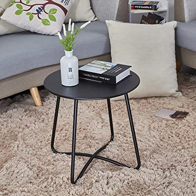 patio side table outdoor small round metal side table waterproof portable coffee table end table for garden porch balcony yard black