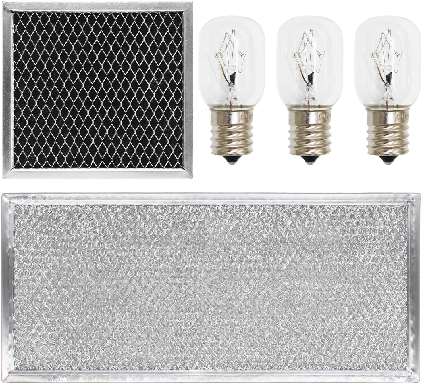 YEECHUN 5 Pcs 8206230A Charcoal Filter & W10208631A Grease Filter & 40w 8206232A Light Bulb Replacement Part for Whirlpool Microwave
