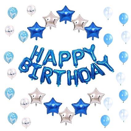 Ready To Fiesta Globos De Cumpleaños Para Hombre Niño Color Azul Blanco Y Plata 43 Piezas Letras Happy Birthday Estrellas Metálicas Globos