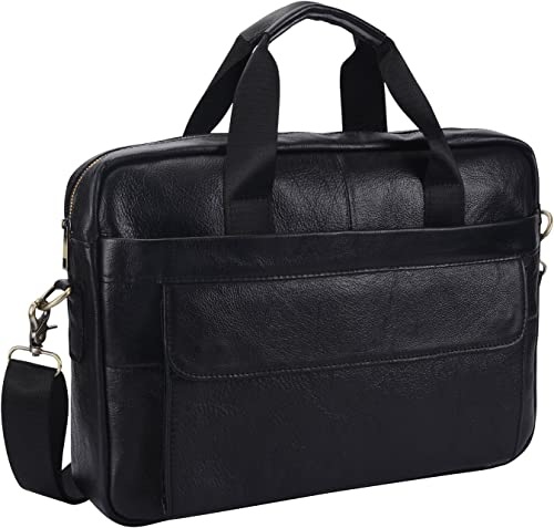 Genuine Leather Briefcase 15 inch Laptop Bag Messenger Shoulder Work Bag Crossbody Handbag for Business Travelling for Xmas for Men Father Husband BFC-Black
