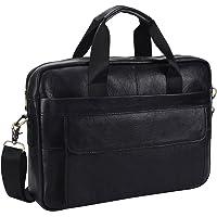 Leather Briefcase Laptop Bag Messenger Shoulder Work Bag Crossbody Handbag for Business Travelling Christmas for Men