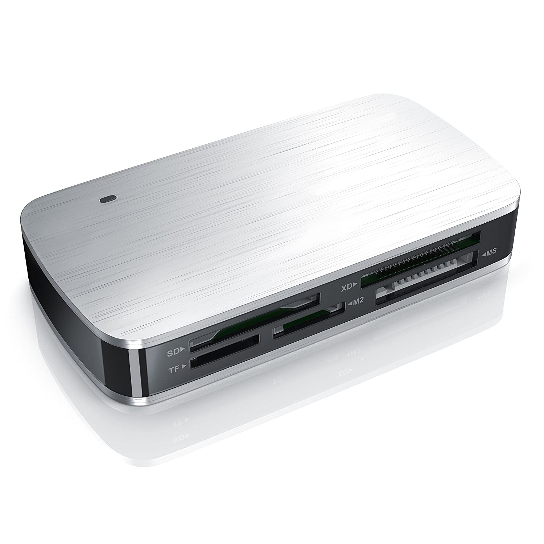 CSL - Card Reader USB 3.0 | Lettore di Card | Fino a 5 Gbit/s | per SD, CF, microSD, MS Duo, xD, M2 | Lettura parallela di più schede di Memoria | contatti Dorati | Power-LED CSL-computer