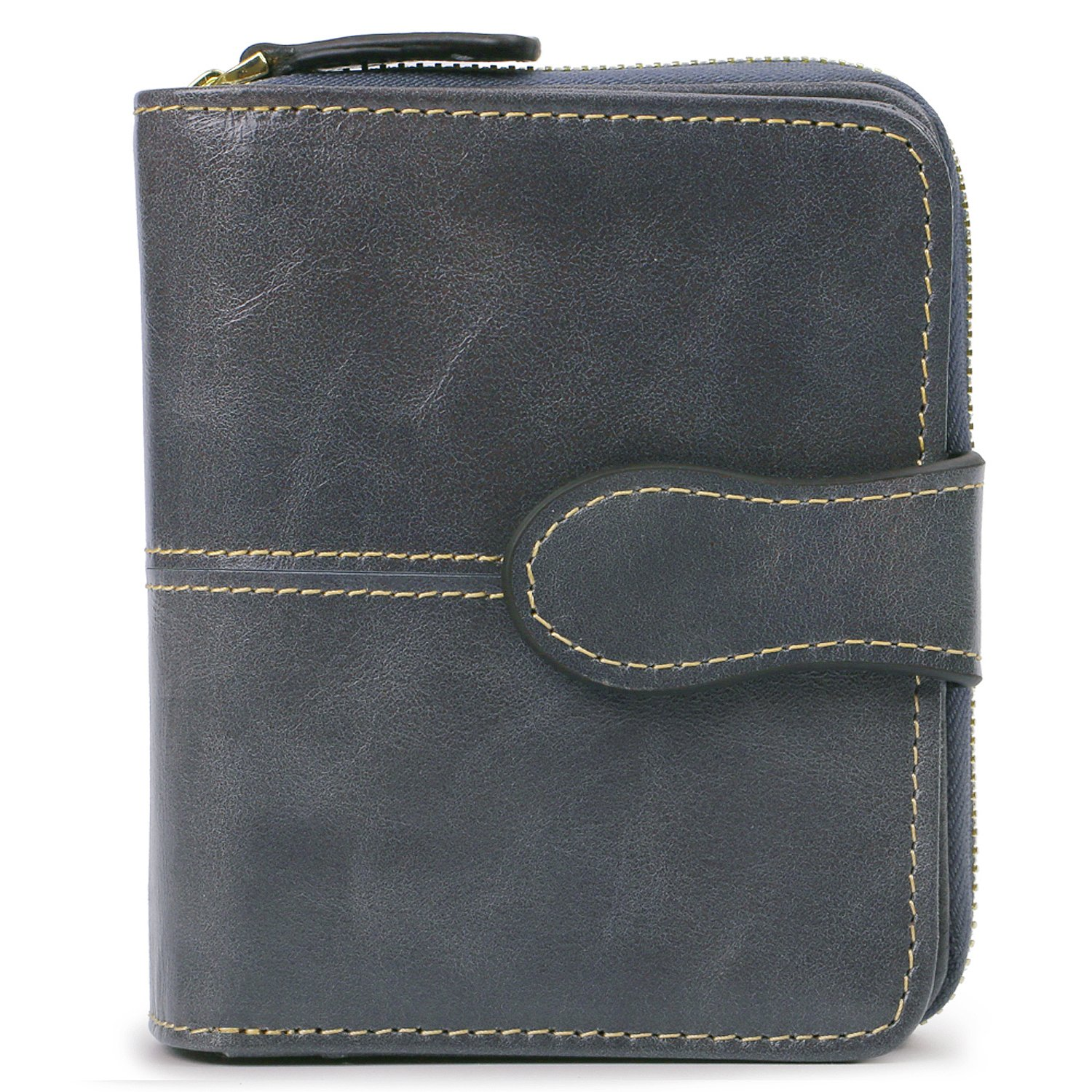 AINIMOER RFID Blocking Women's Leather Secure Spacious Small Wallet Zipper Pocket Card Case Compact Purse(Waxed Gray) by AINIMOER