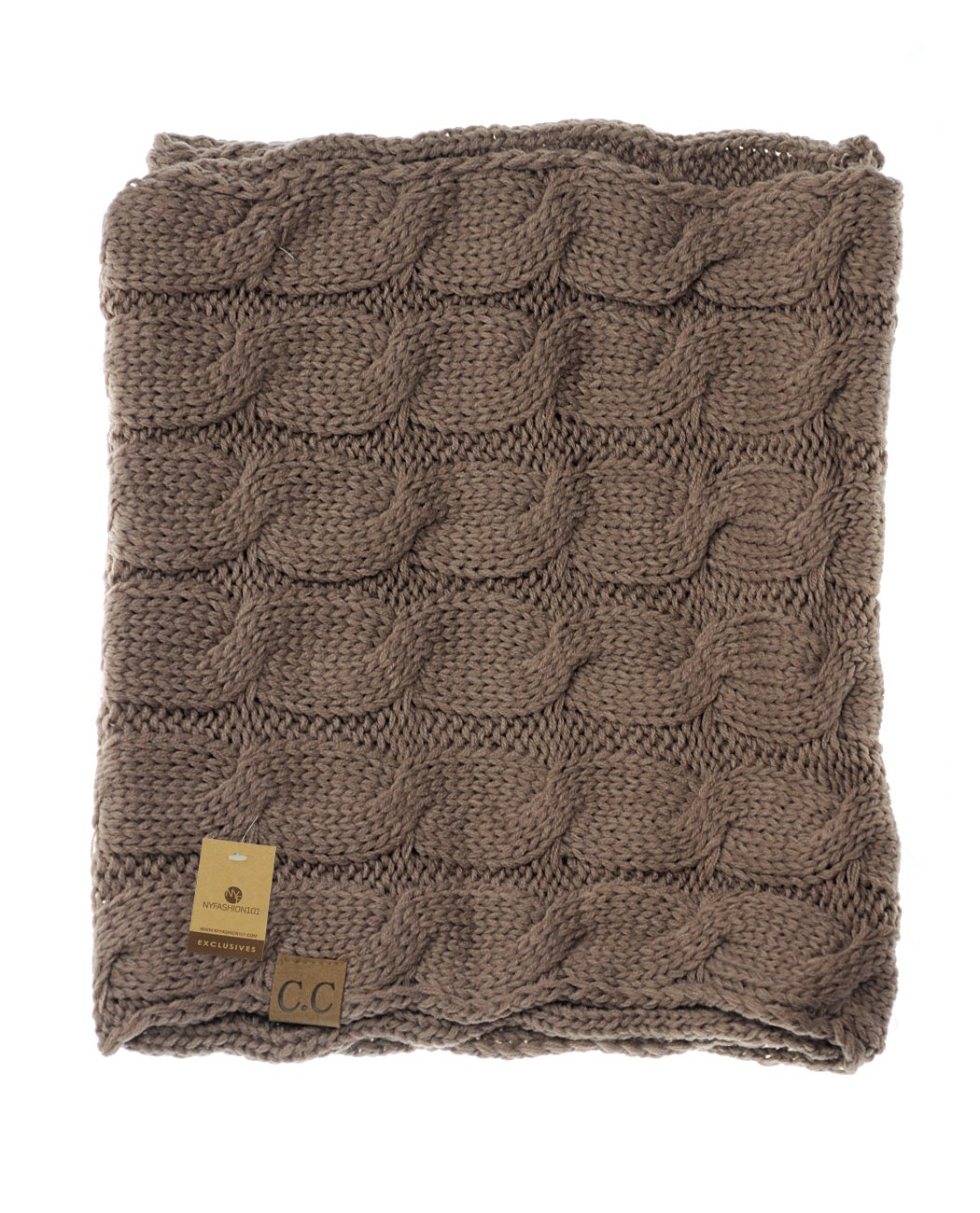 Metallic Gold NYfashion101 Soft Warm Chunky Cable Knit Infinity Loop Scarf