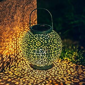 Solar Lanterns Outdoor Hanging Garden Solar Lights Decor Waterproof LED Metal Tabletop Lanterns for Backyard, Front Yard, Deck or Porch