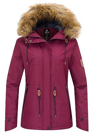 Wantdo Women s Winter Ski Jacket Mountain Waterproof Raincoat Windproof  Winter Thick Windcheater Hoodie for Riding Driving b820d0330