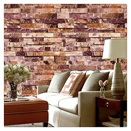 HaokHome 91304 Modern Faux Brick Stone Textured Wallpaper Roll Red Multi 3D Blocks Home Room