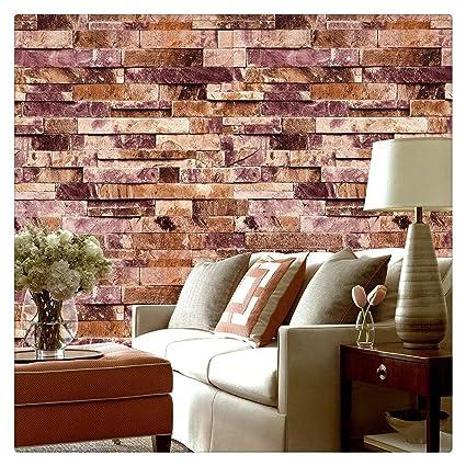 9c18cc20656e5 HaokHome 91304 Papel Tapiz 3D Papel Pintado Textured Moderno de la Piedra  del Ladrillo