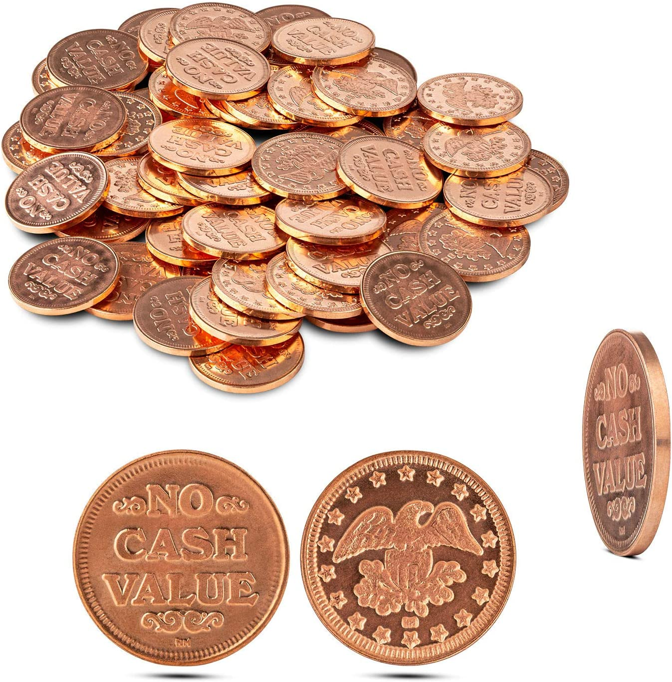 "Metal Copper Coins Pack of 50 Great as Tokens for Arcade Games or Prizes by MT Products – Size is Slightly Smaller Than a Quarter 0.900"" in Diameter - Please Check Size Before Purchase"