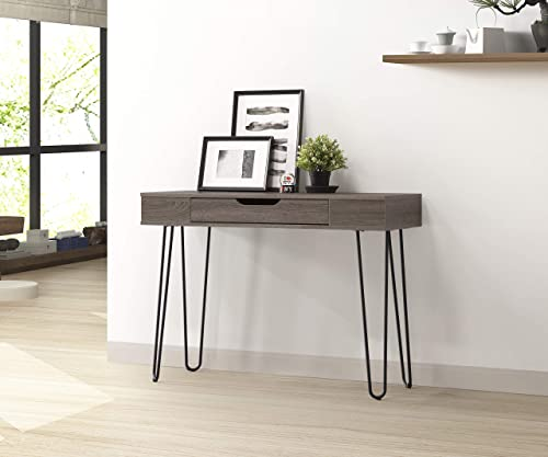 Best home office desk: Weathered Grey Finish Black Frame Console Sofa Table Computer Laptop Writing Desk