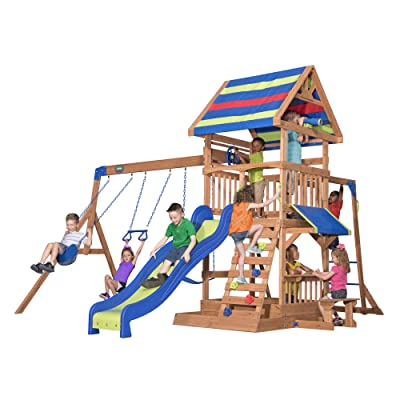 Backyard Discovery Beach Front Wooden Swing Set: Toys & Games