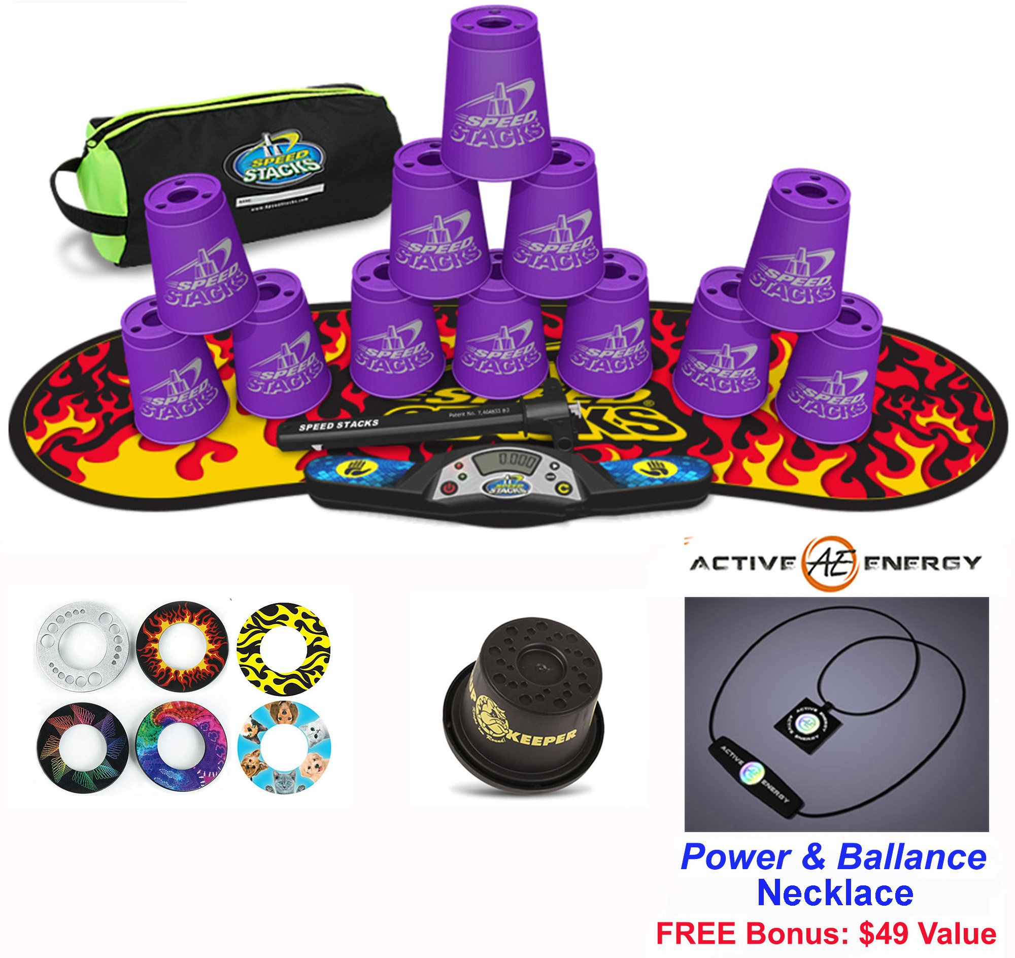 Speed Stacks Combo Set 'The Works'': 12 PURPLE 4'' Cups, Black Flame Gen 3 Mat, G4 Pro Timer, Cup Keeper, Stem, Gear Bag + Active Energy Necklace