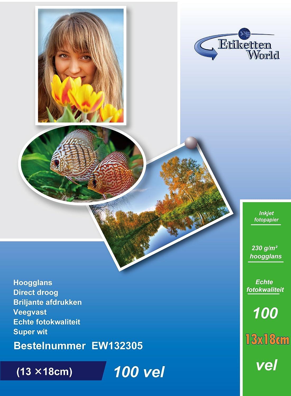 EtikettenWorld - Carta fotografica, formato 13 x 18 cm, 230g/mq, impermeabile, lucida, 100 fogli Label Wonderland EW132305