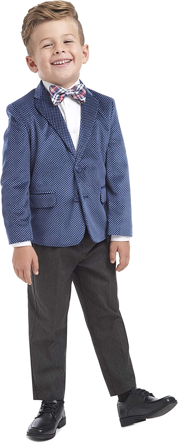 Bow Tie Nautica Boys 4-Piece Suit Set with Dress Shirt Jacket and Pants