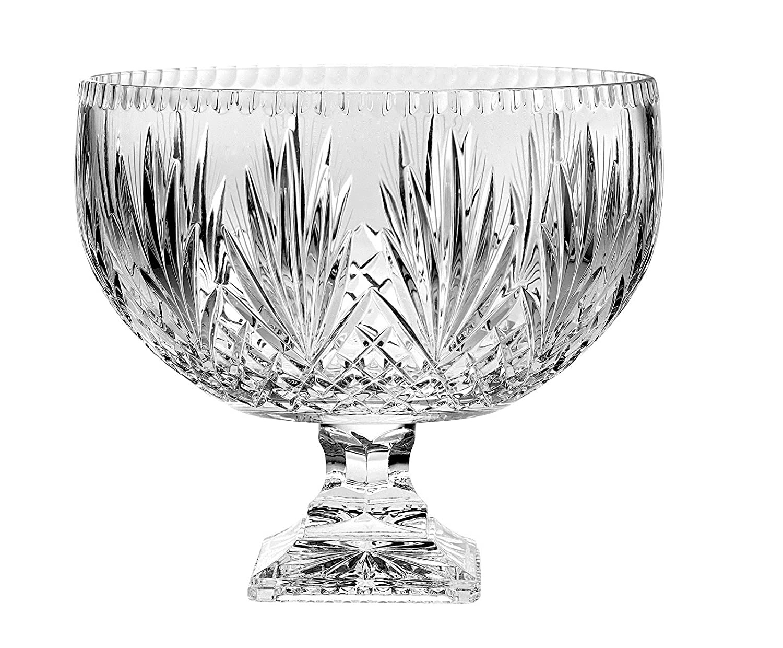 Barski - European Crystal - Handmade - Large Centerpiece Footed Bowl -Punch Bowl - 12