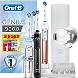 Oral-B Genius 9900 Elektrische Zahnbürste, mit intelligenter Positionerkennung, 4 Aufsteckbürsten und Reise-Etui, rose gold und schwarz, 2 Handstücke