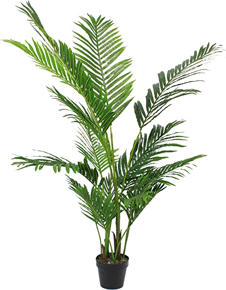 Blooming Artificial Artificial 140cm 4 5ft H Paradise Palm Tree Plant Realistic Pre Potted Faux Palm Tree Perfect For Home Office Use Featuring Two Tone Green Areca Palm Frond Foliage Amazon Co Uk