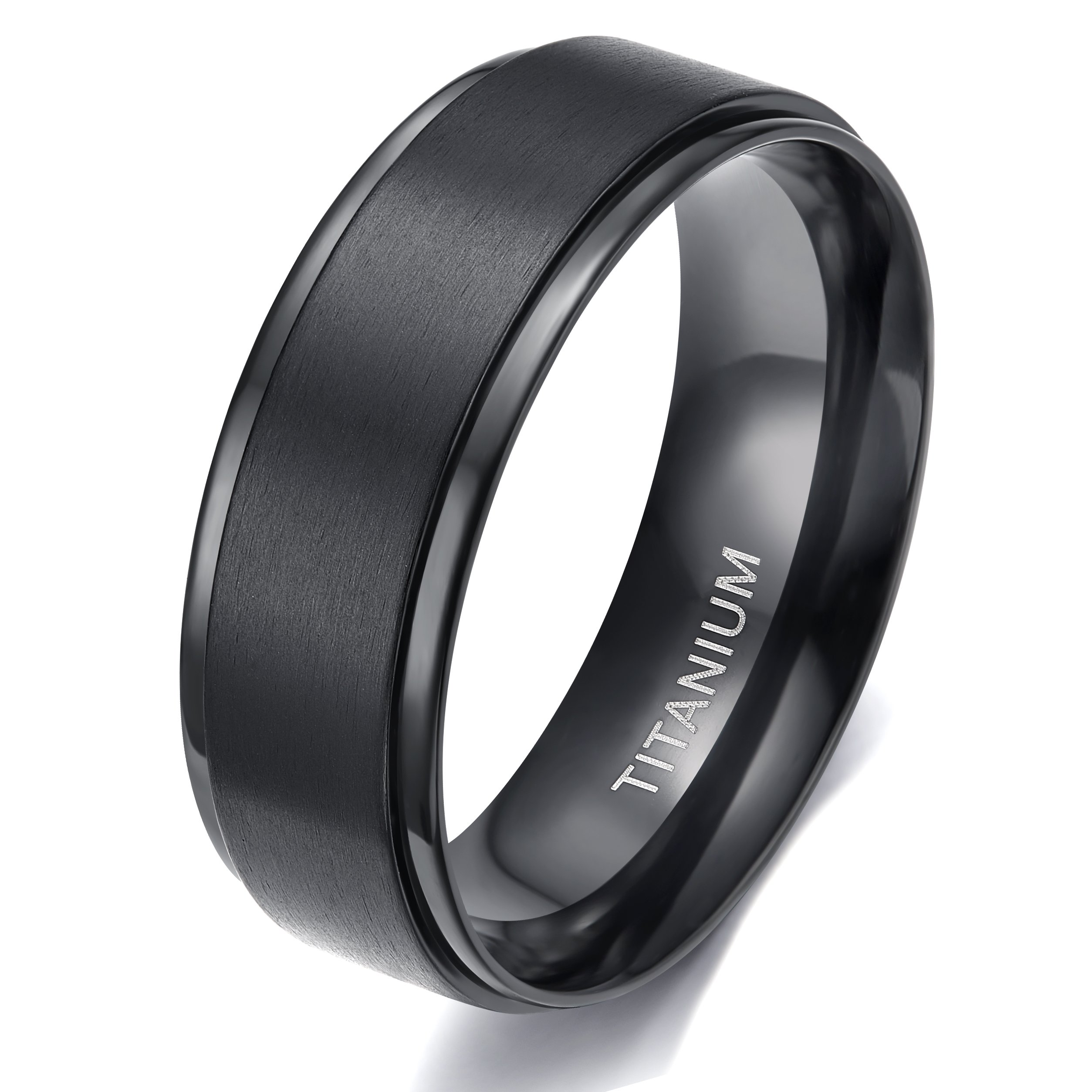 TIGRADE 8MM Comfort Fit Titanium Wedding Band | Engagement Ring with Black Plated and Brushed Top finish | Grooved Polished Edges(10)