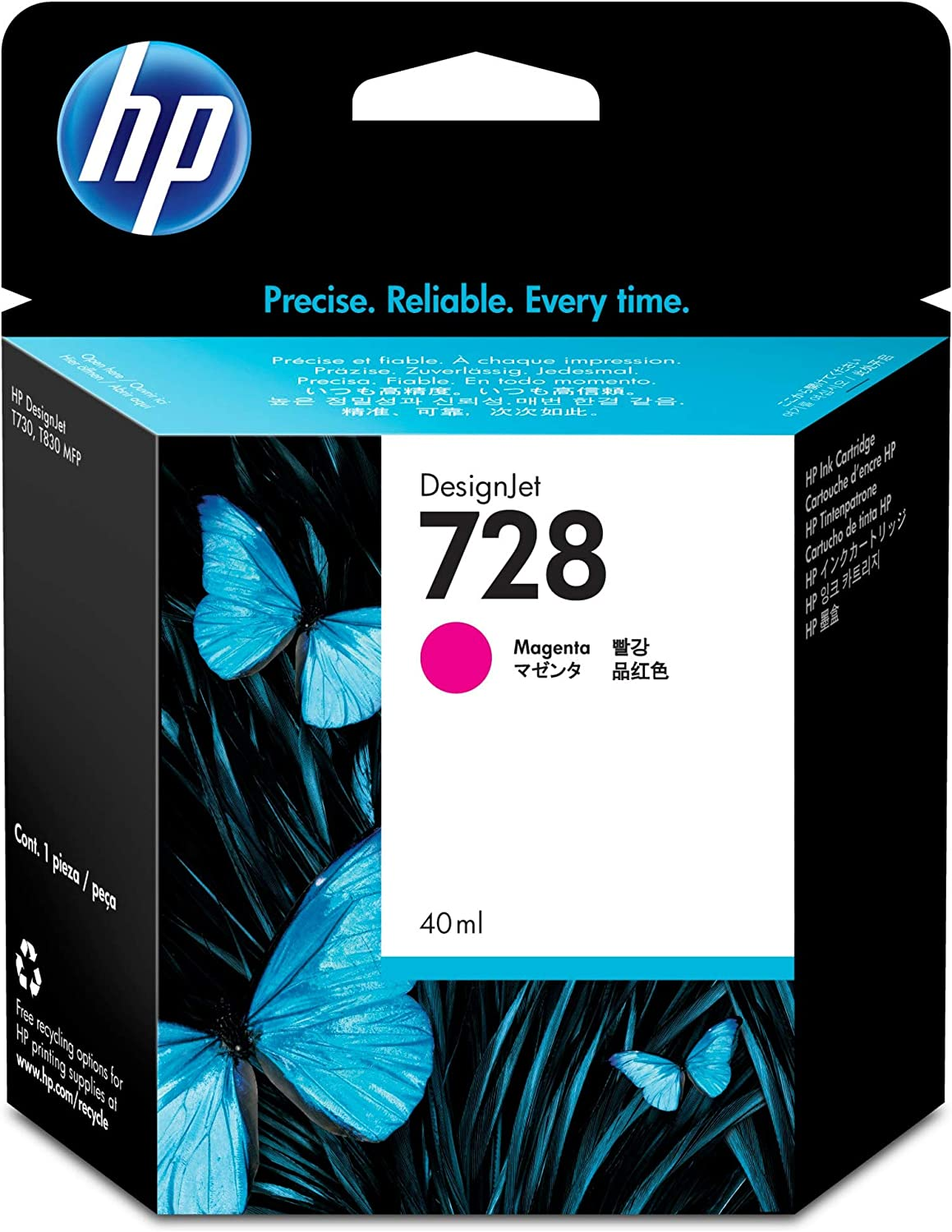 HP 728 Magenta 40-ml Genuine Ink Cartridge (F9J62A) for DesignJet T830 MFP & T730 Large Format Plotter Printers
