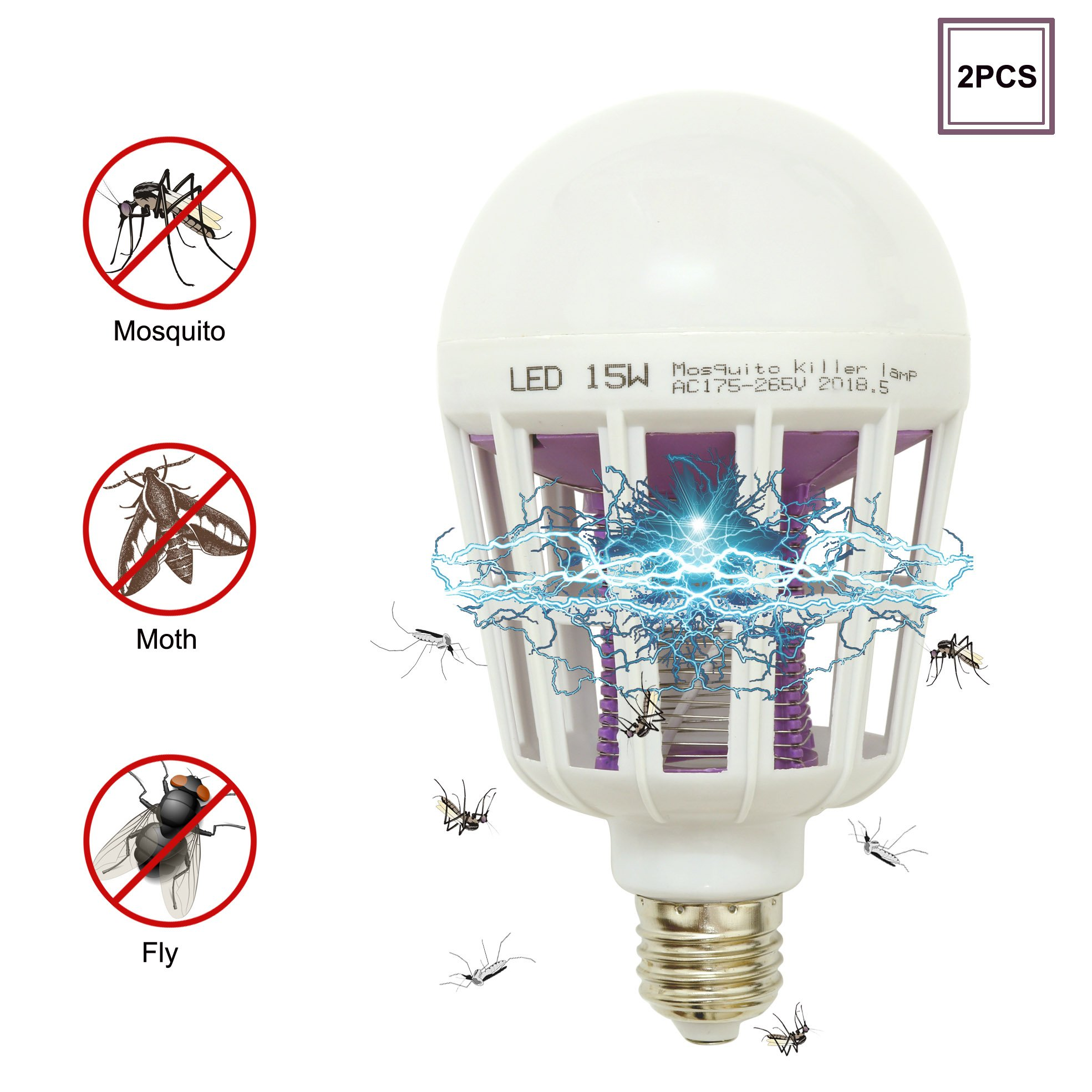DarNio Mosquito Bug Zapper Light Bulb, E26/E27 Electronic Insect Killer Lamp, Built in Mosquito Trap for Indoor Porch Patio, Fit in 110V Light Bulb Socket 2PCS by DarNio