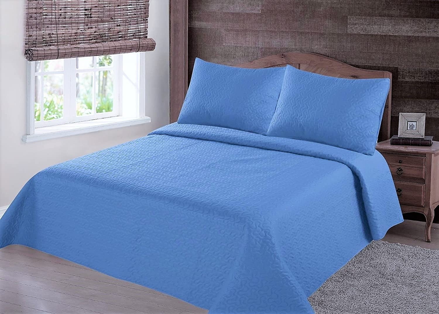GorgeousHomeLinen (NENA) 2/3-Piece Light Blue Solid Hypoallergenic Quilt Bedspread Bed Bedding Coverlets Cover Set with Pillow Cases (Queen)