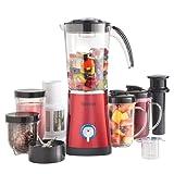 VonShef 4 in 1 Multifunctional Red 1L Smoothie Maker, 1.5 Litre Blender, Juicer & Grinder