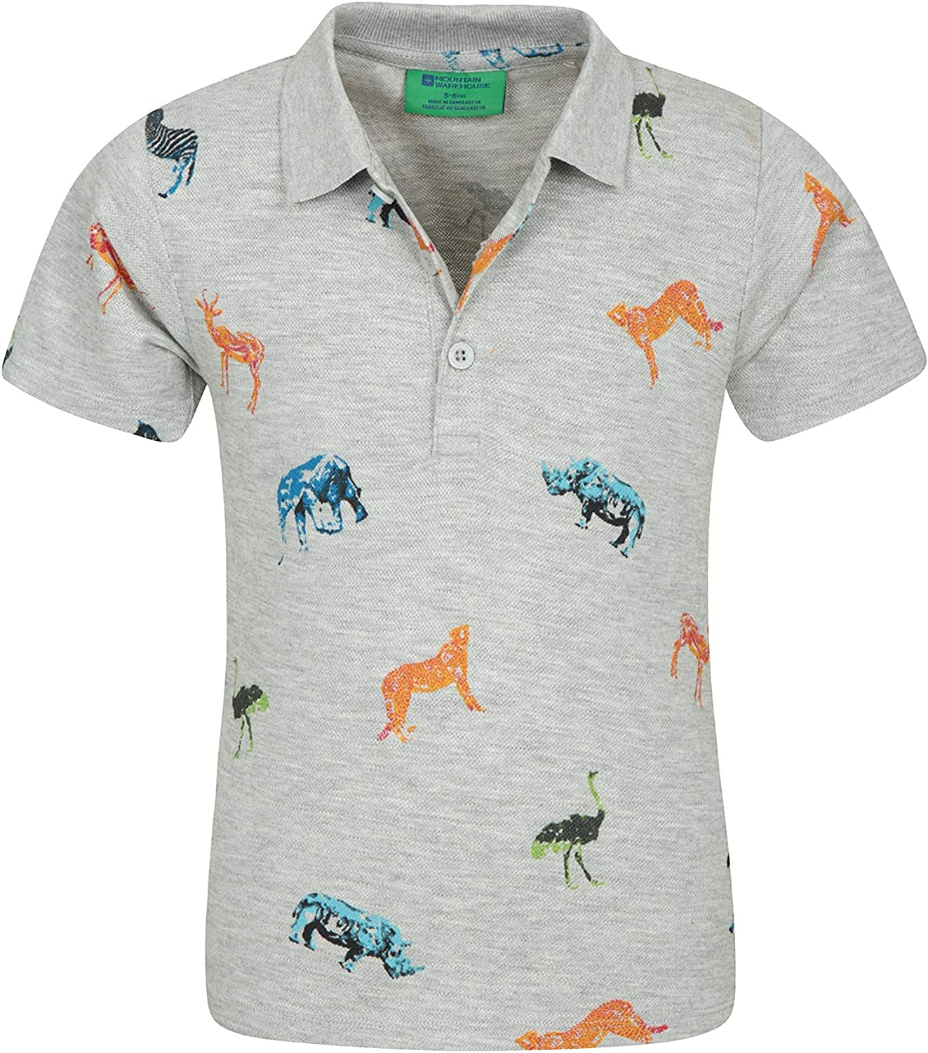 Camping Lightweight Easy Care Top Travelling Mountain Warehouse Printed Kids Polo Shirt Ideal for Summer Hiking 100/% Cotton